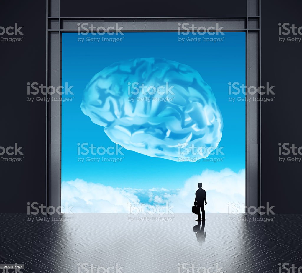 silhoette businessman looking to brain as cloud icon concept royalty-free stock photo