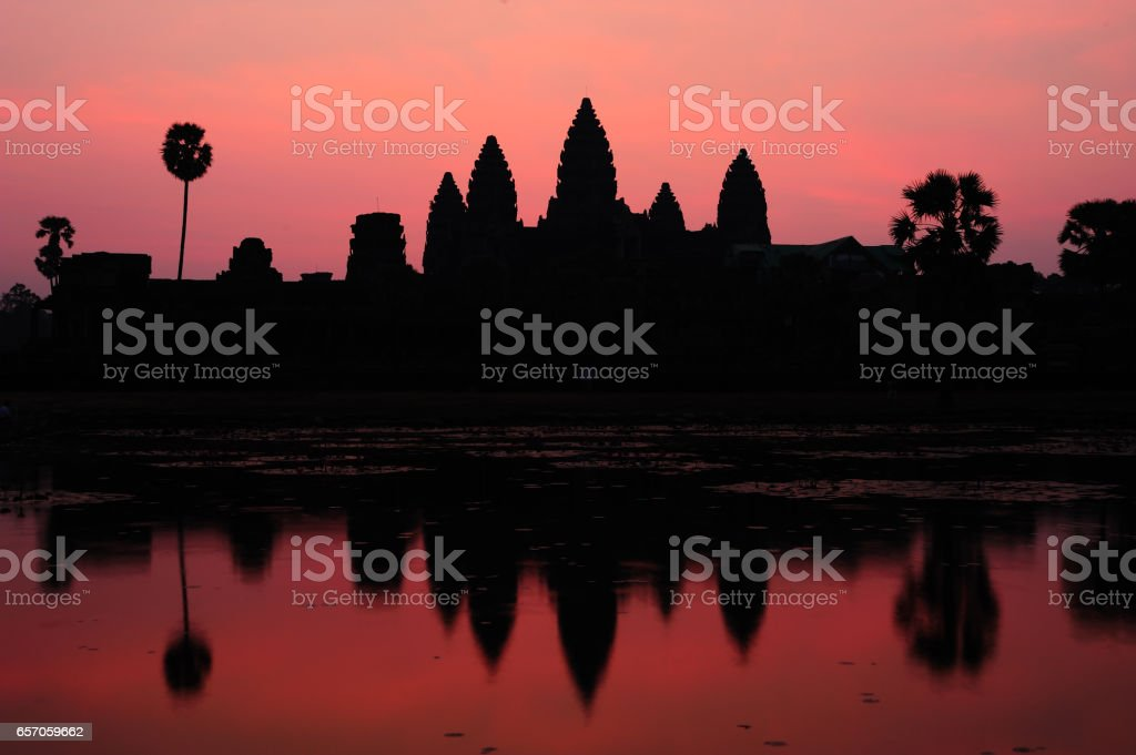 Silhouette Angkor Wat at Sunrise stock photo