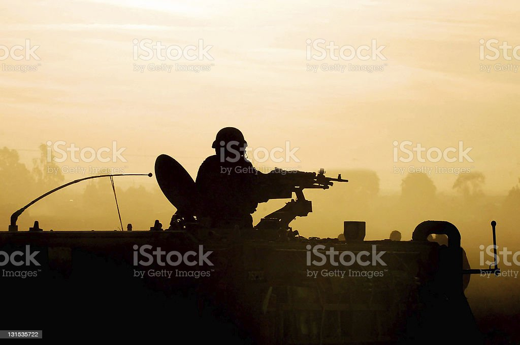 Silhouette Army Soldier Sunset stock photo