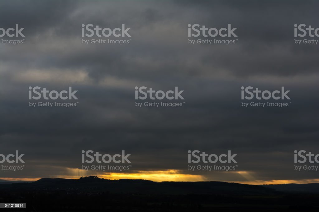 Silhouette bei Sonnenuntergang stock photo