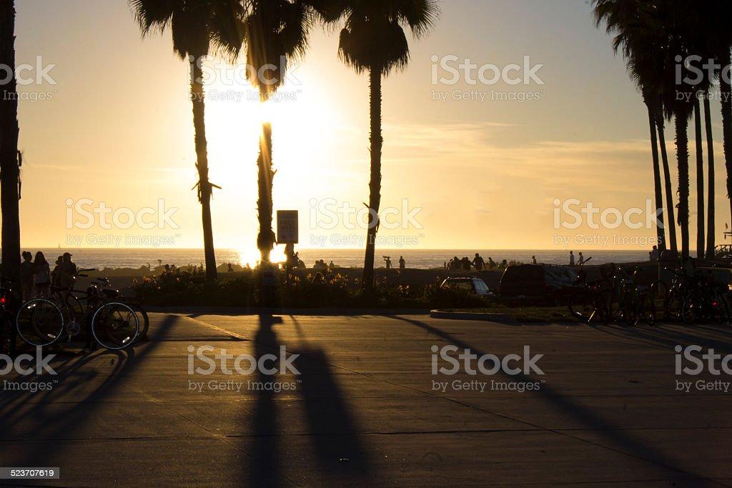 Silhouette Beach Boardwalk stock photo