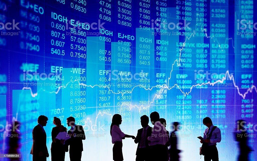 Silhouette Business People Discussion Stock Market Concept stock photo