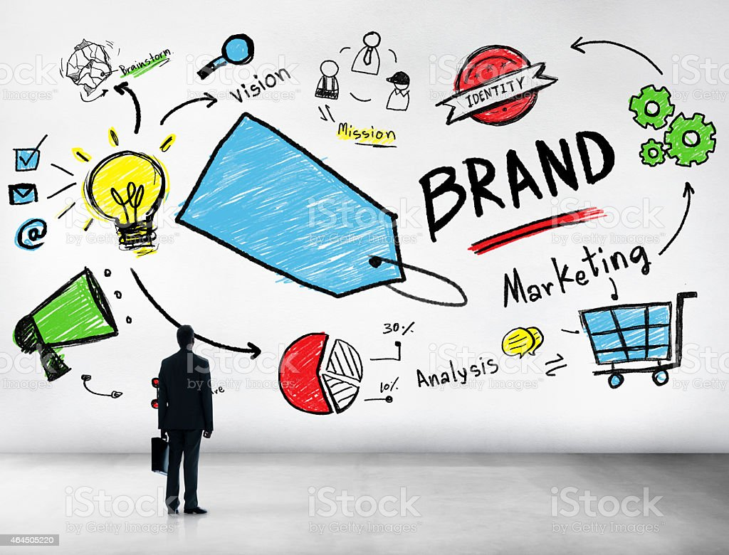Silhouette Businessman Planning Marketing Brand Concept stock photo