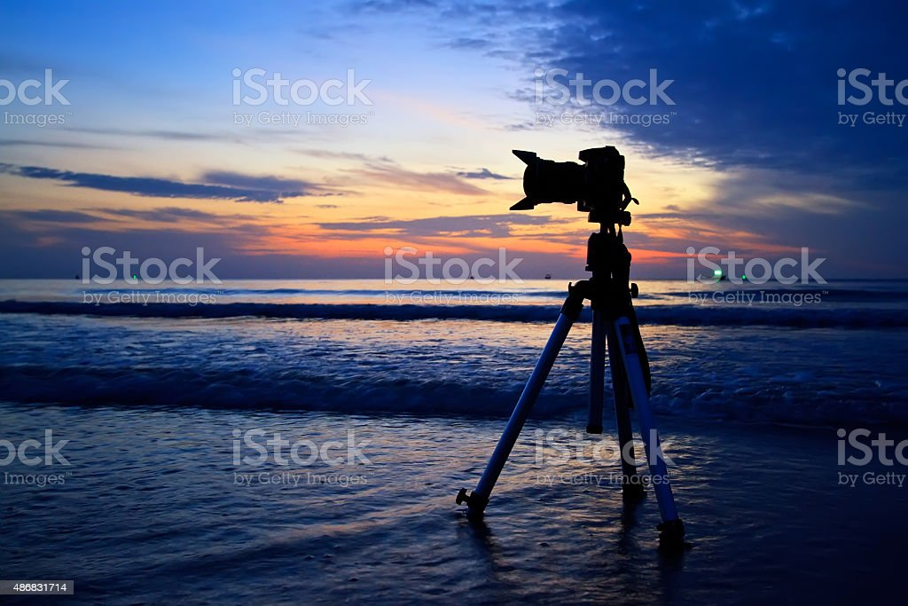 Silhouette camera on the beach, Thailand stock photo