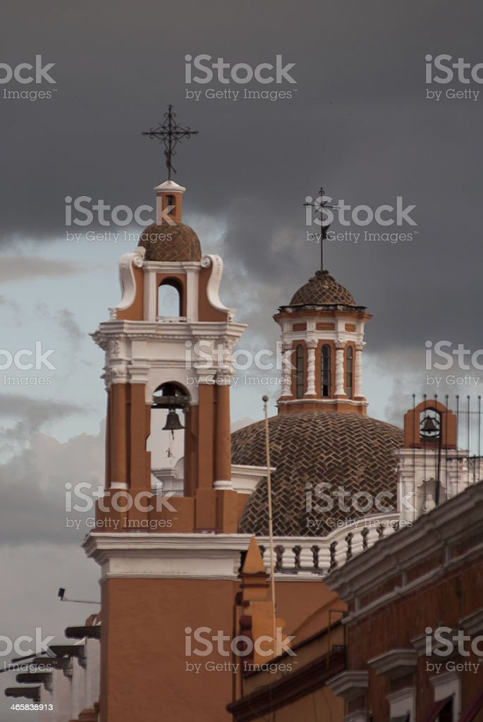 Silhouette Church Steeple and Bell Tower Puebla Mexico royalty-free stock photo