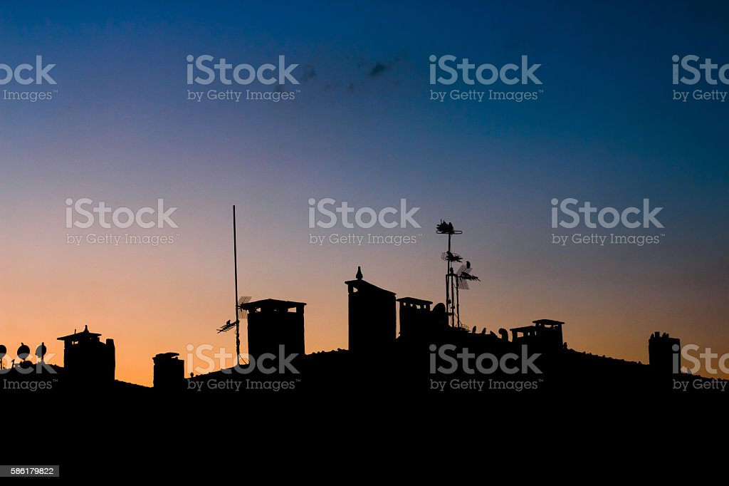 Silhouette city stock photo