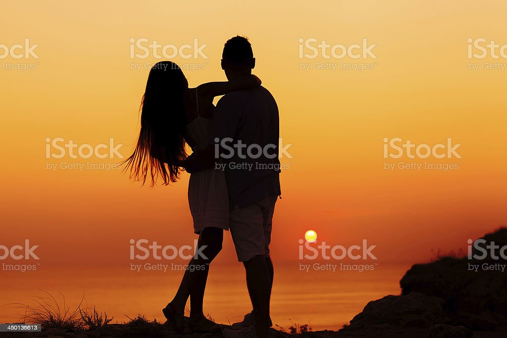 silhouette couple in love royalty-free stock photo