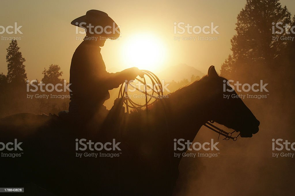 Silhouette cowboy and horse stock photo