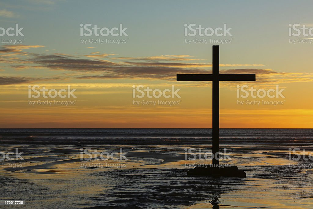 Silhouette Cross Sundown stock photo