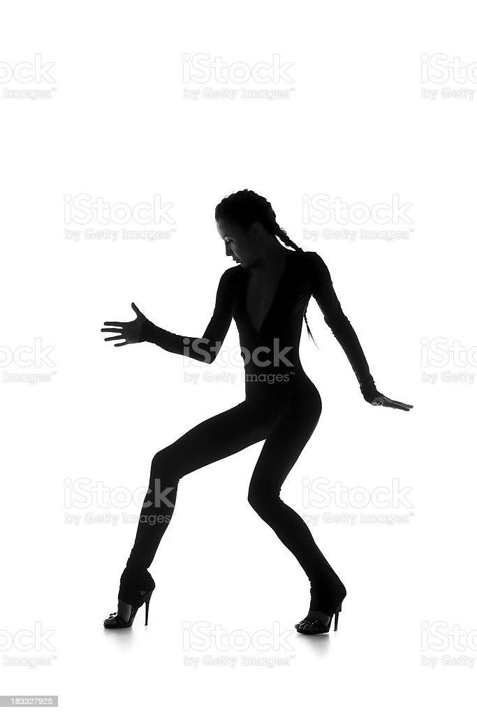 Silhouette dancer girl. royalty-free stock photo