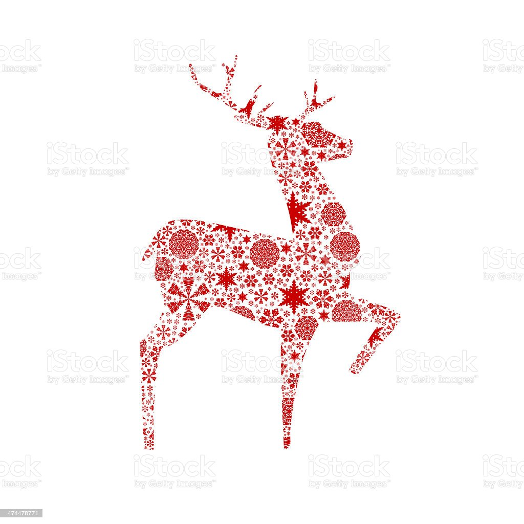 Silhouette deer. Christmas card stock photo