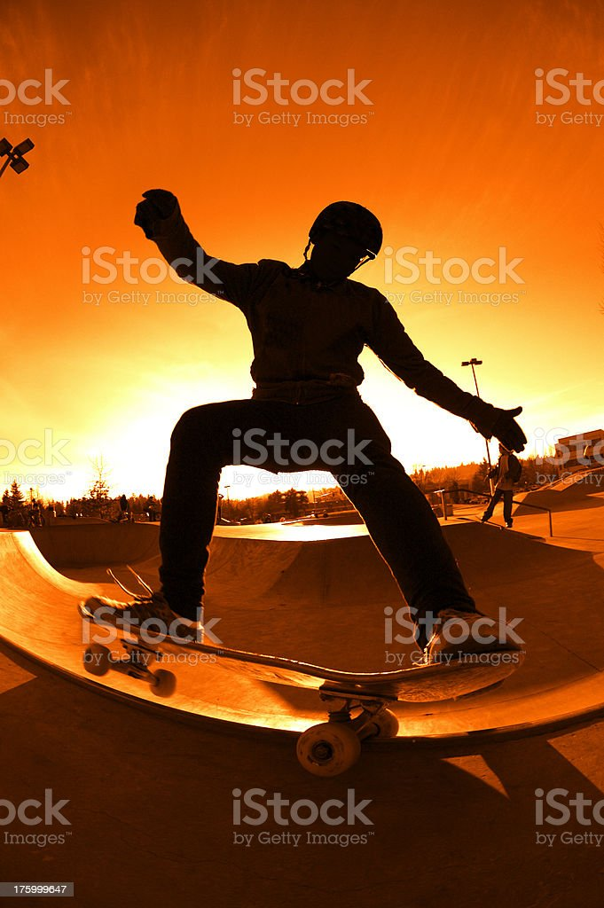 Silhouette Frontside Grind - Apocalypse Edition royalty-free stock photo