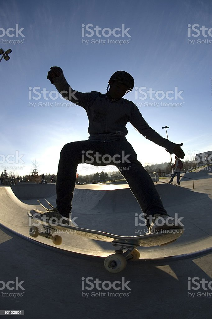 Silhouette Frontside Grind royalty-free stock photo