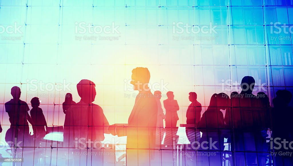 Silhouette Global Business People Meeting Concept stock photo