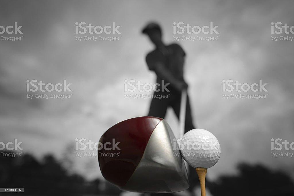 Silhouette golf swing stock photo
