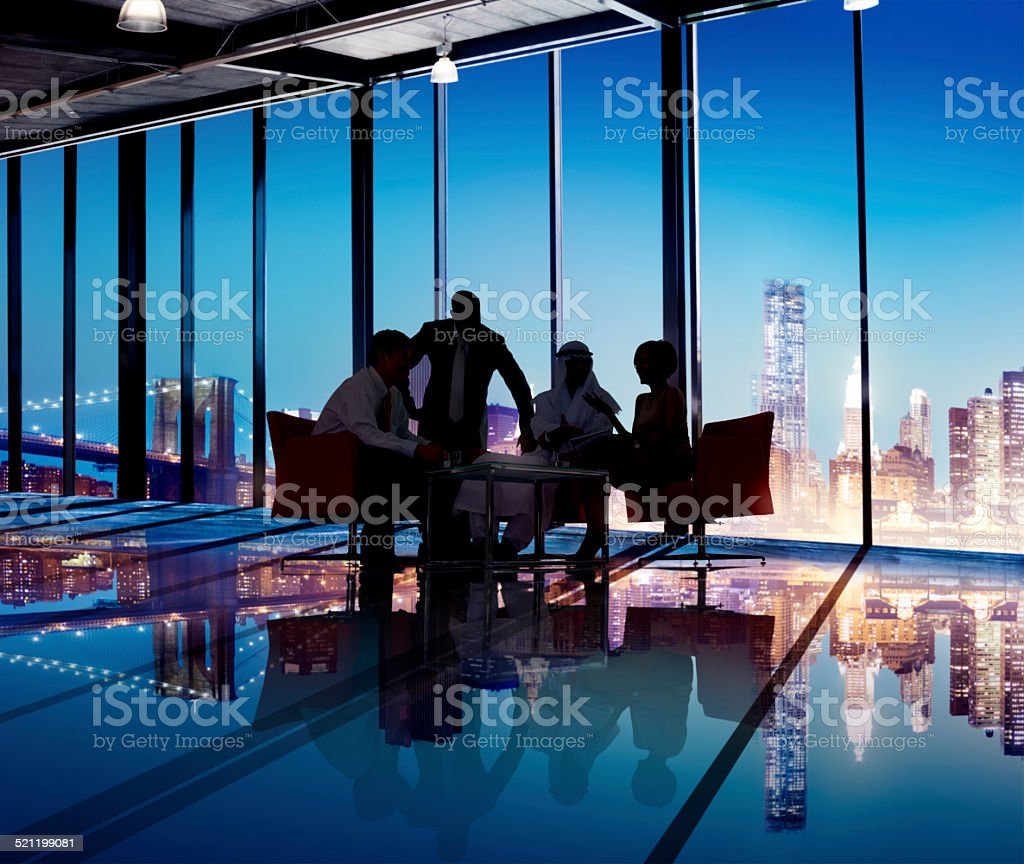Silhouette Group of Business People Meeting stock photo