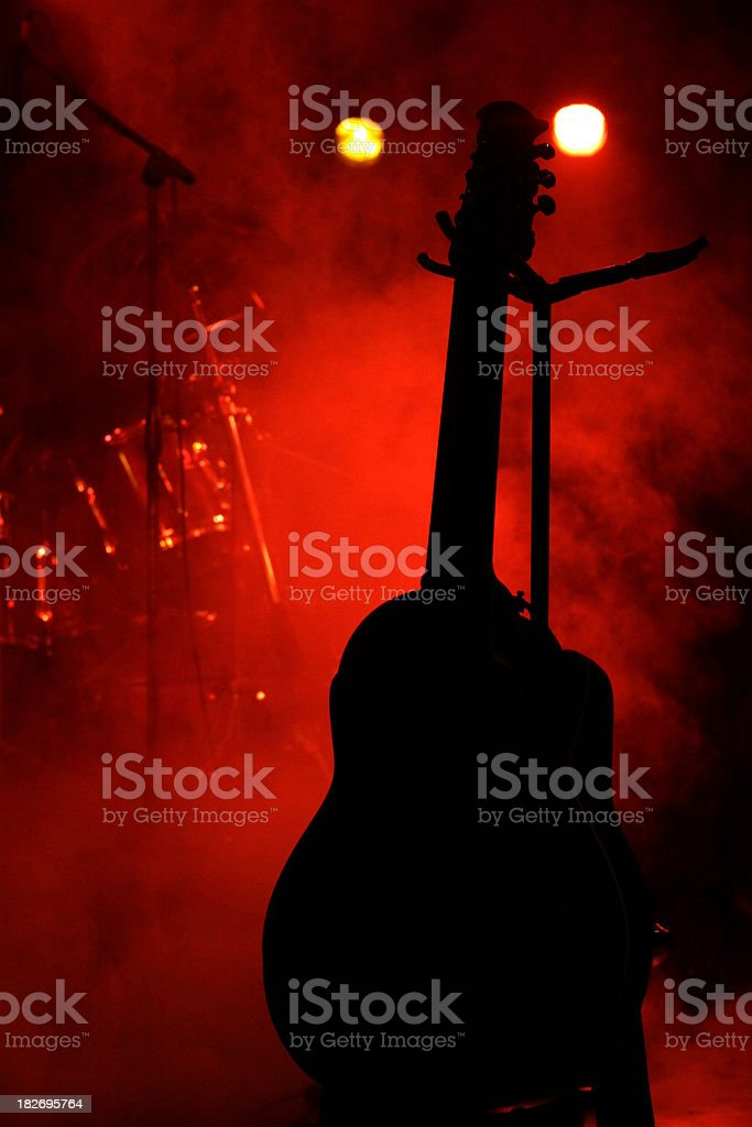 Silhouette Guitar on Stage stock photo