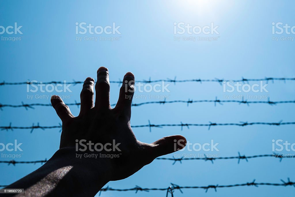 Silhouette hand extending to blue sky with barbwire and sunlight stock photo