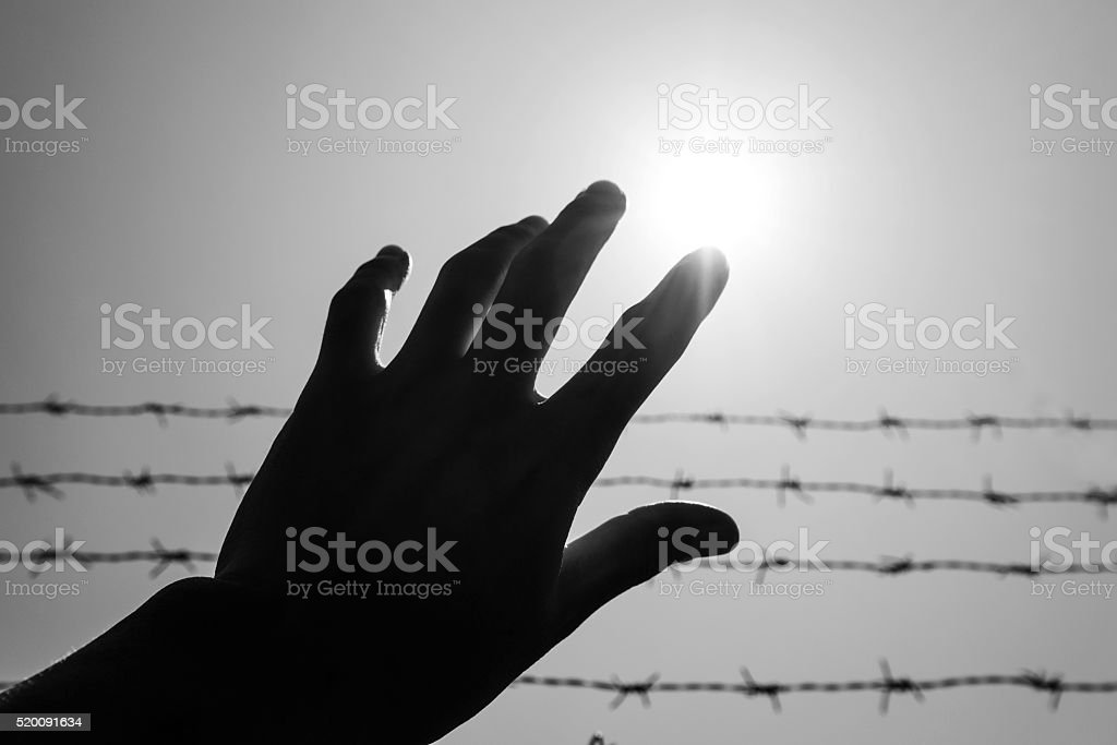 Silhouette hand extending to the sky with barbwire and sunlight stock photo