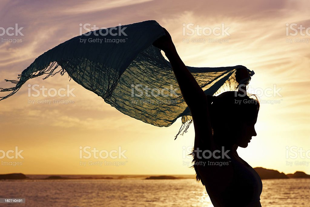 Silhouette image of a woman holding up shawl at sunset royalty-free stock photo