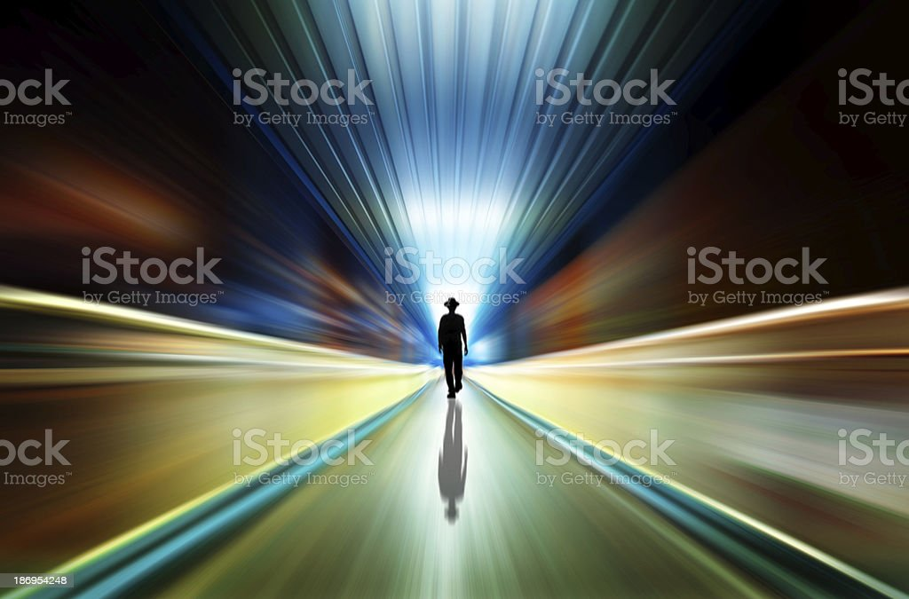 silhouette in a subway tunnel. Light at End of Tunnel stock photo