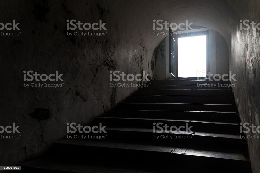 Silhouette inside of a tunnel stock photo