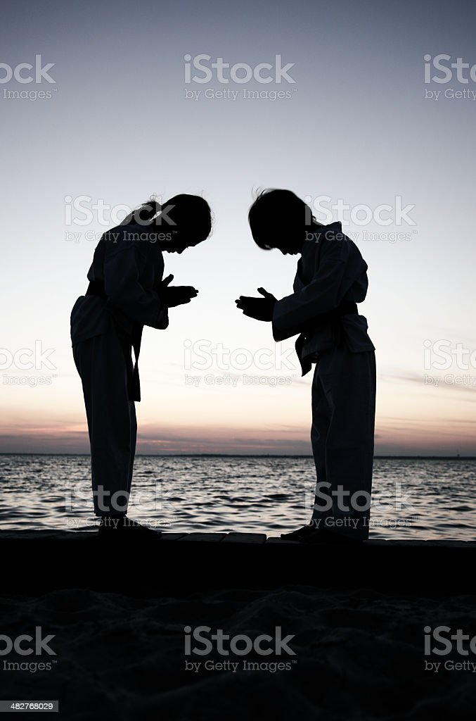 Silhouette Karate Kids Demonstrate Respect at Sunset stock photo