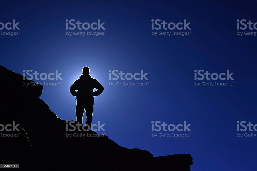 silhouette man and clear blue sky on mountain ridge royalty-free stock photo