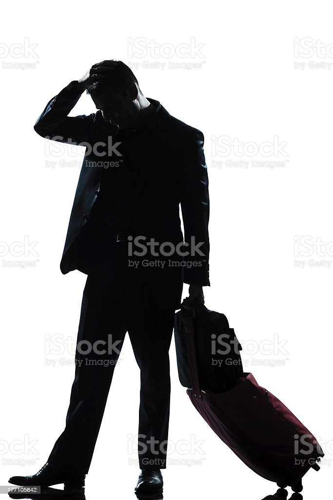 silhouette man business traveler  sad despair royalty-free stock photo