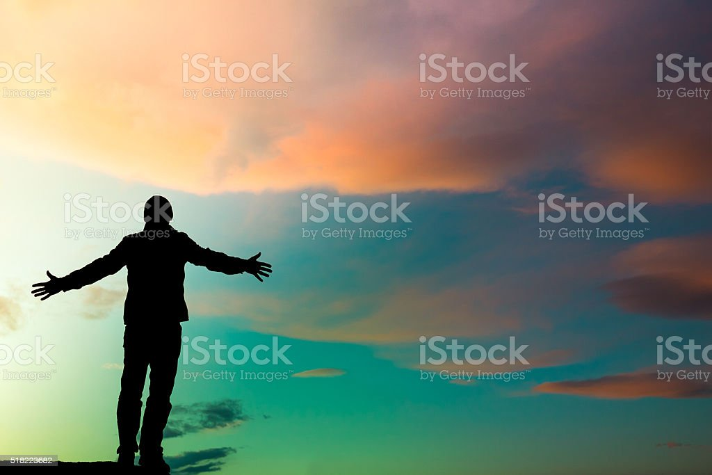 silhouette man emotion stock photo