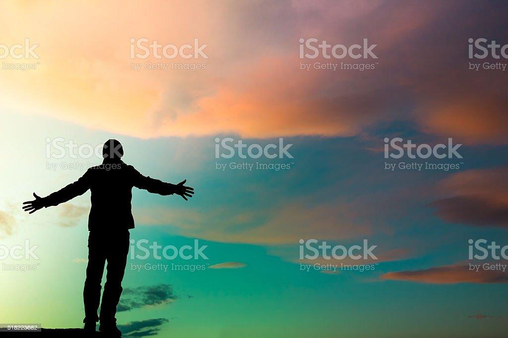silhouette man emotion stock photo