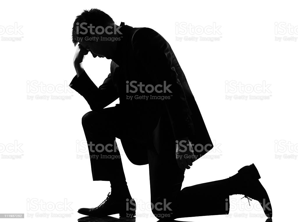 silhouette  man  fatigue despair tired royalty-free stock photo