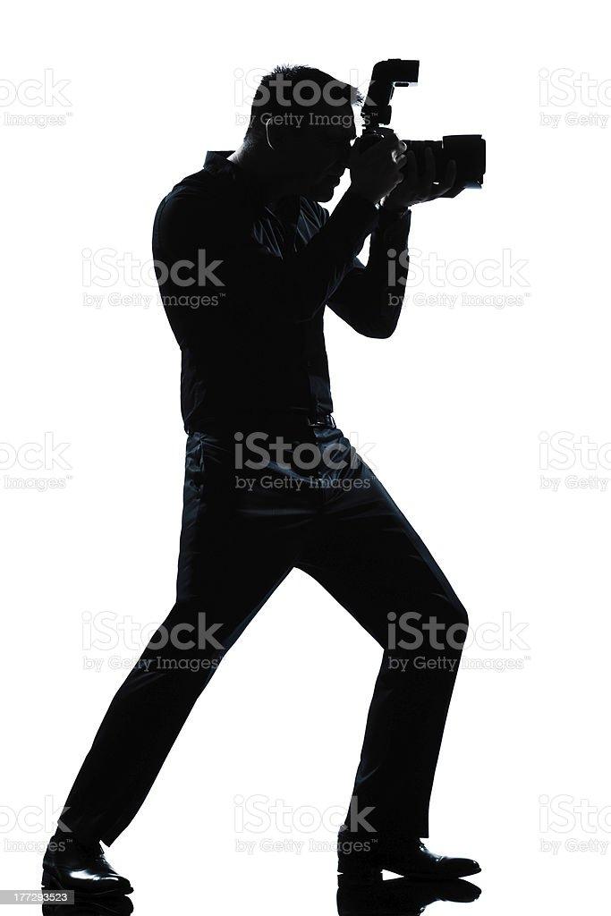 silhouette man full length photographer stock photo