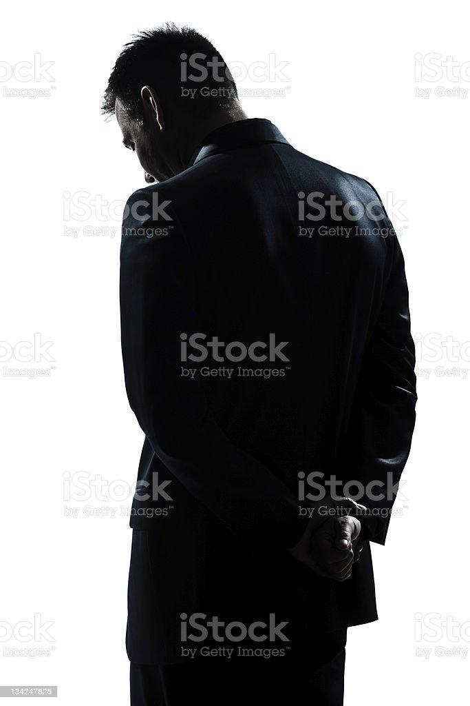 silhouette man portrait backside sad despair lonely stock photo