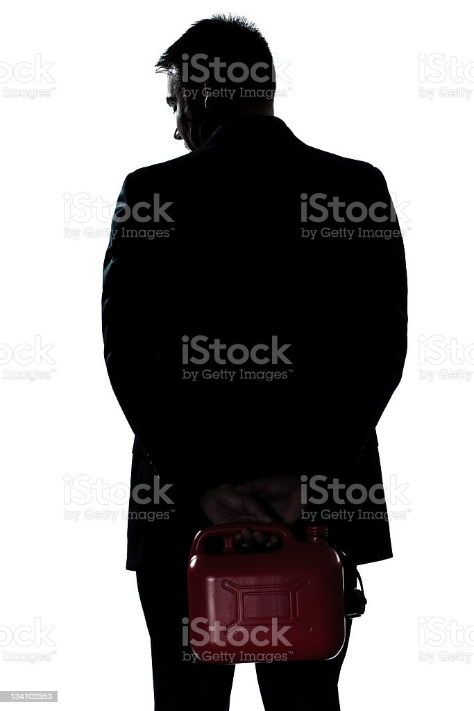 silhouette man portrait out of gas stock photo