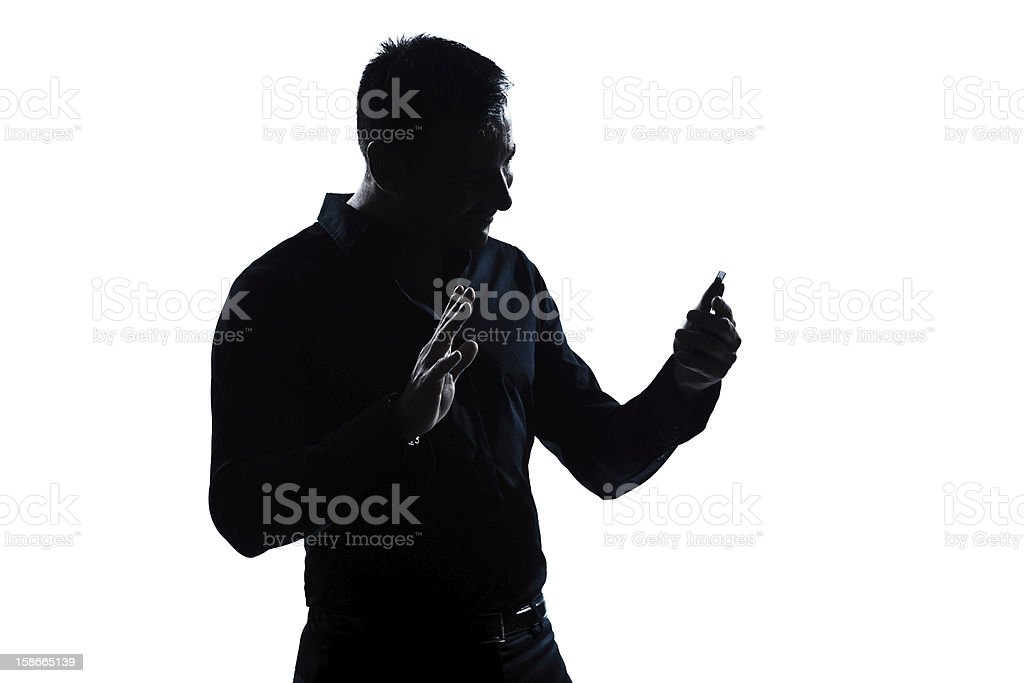 silhouette man portrait telephone videophone salute gesture royalty-free stock photo