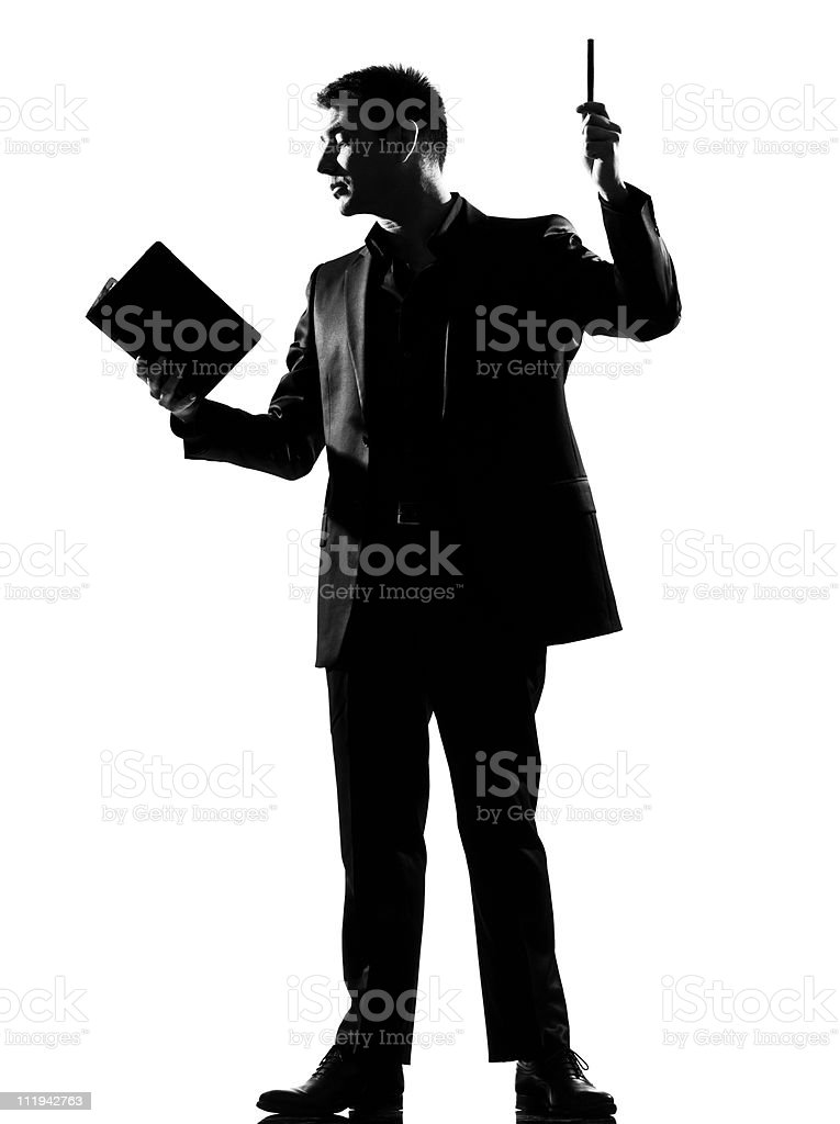 silhouette  man with note pad royalty-free stock photo