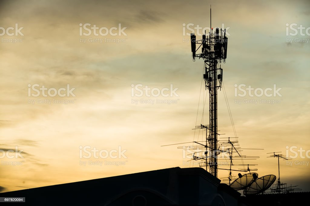 silhouette mobile antenna tower, or silhouette telephone...
