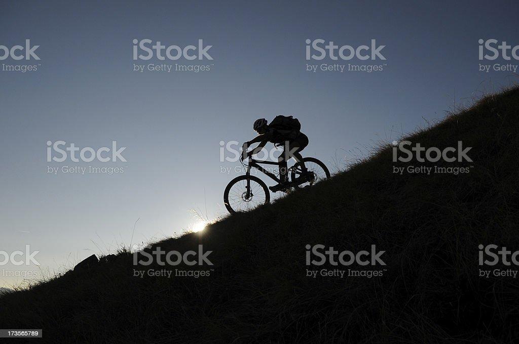 Silhouette Mountain Biker royalty-free stock photo