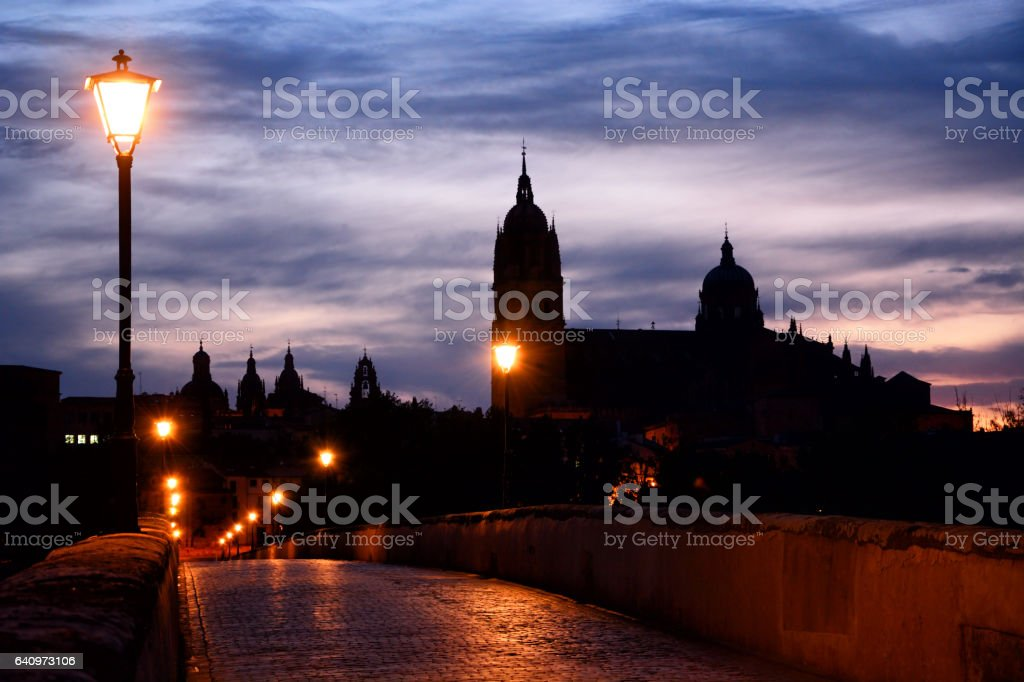 Silhouette New Cathedral of Salamanca, Spain stock photo