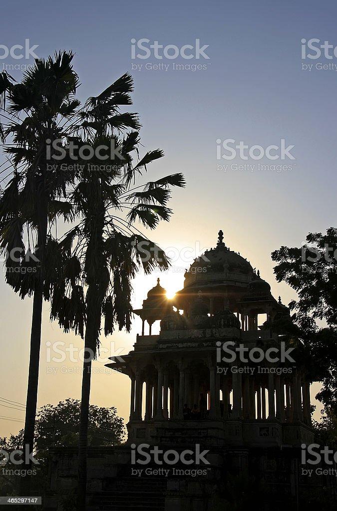 Silhouette of 84-Pillared Cenotaph at sunset, Bundi, Rajasthan stock photo