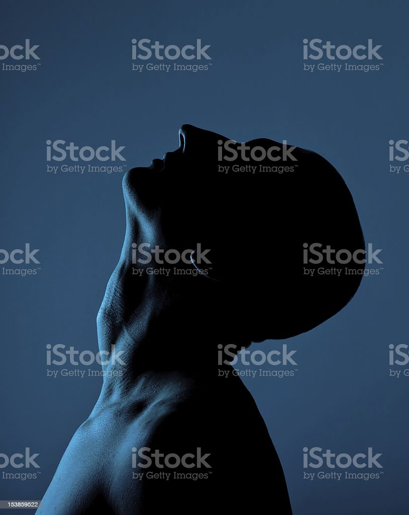 Silhouette Of A Bald Man stock photo