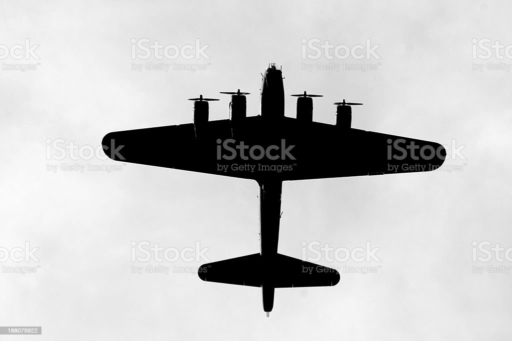 Silhouette of a bomber stock photo