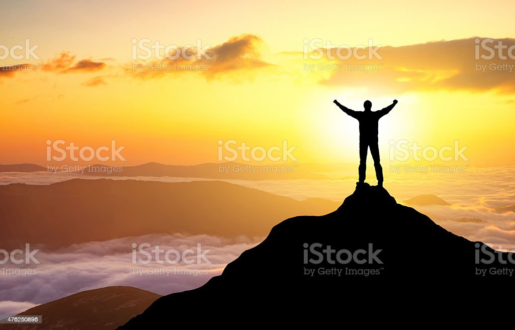 Silhouette of a champion stock photo