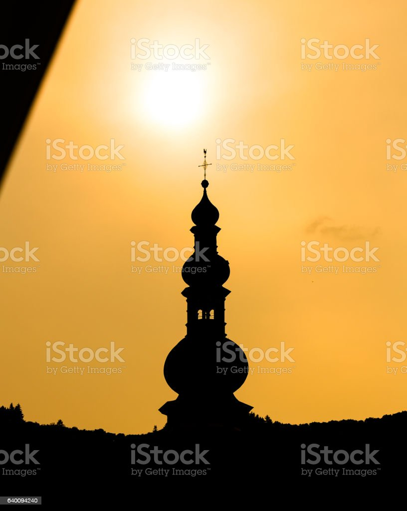 Silhouette of a church in Cochem stock photo
