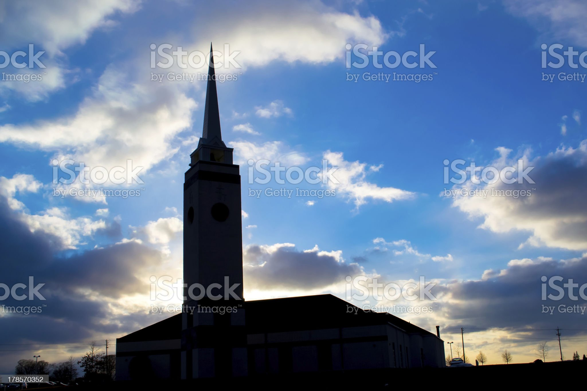 Silhouette of a Church royalty-free stock photo