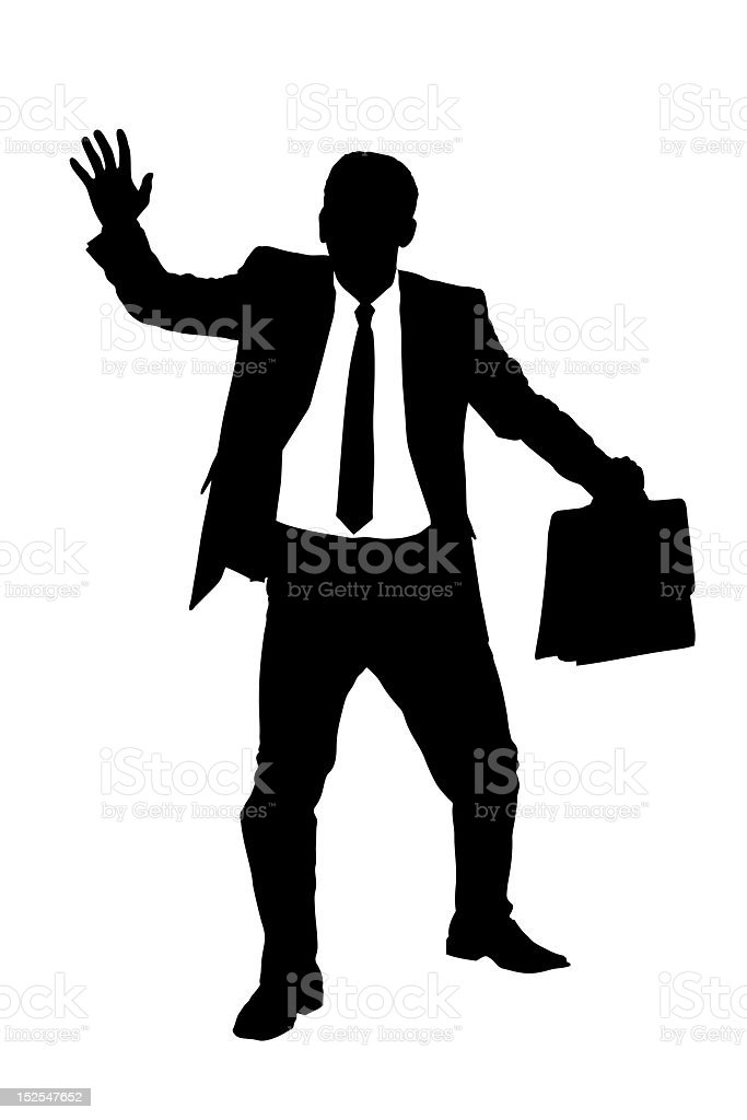 Silhouette of a confused blindfold businessman royalty-free stock photo