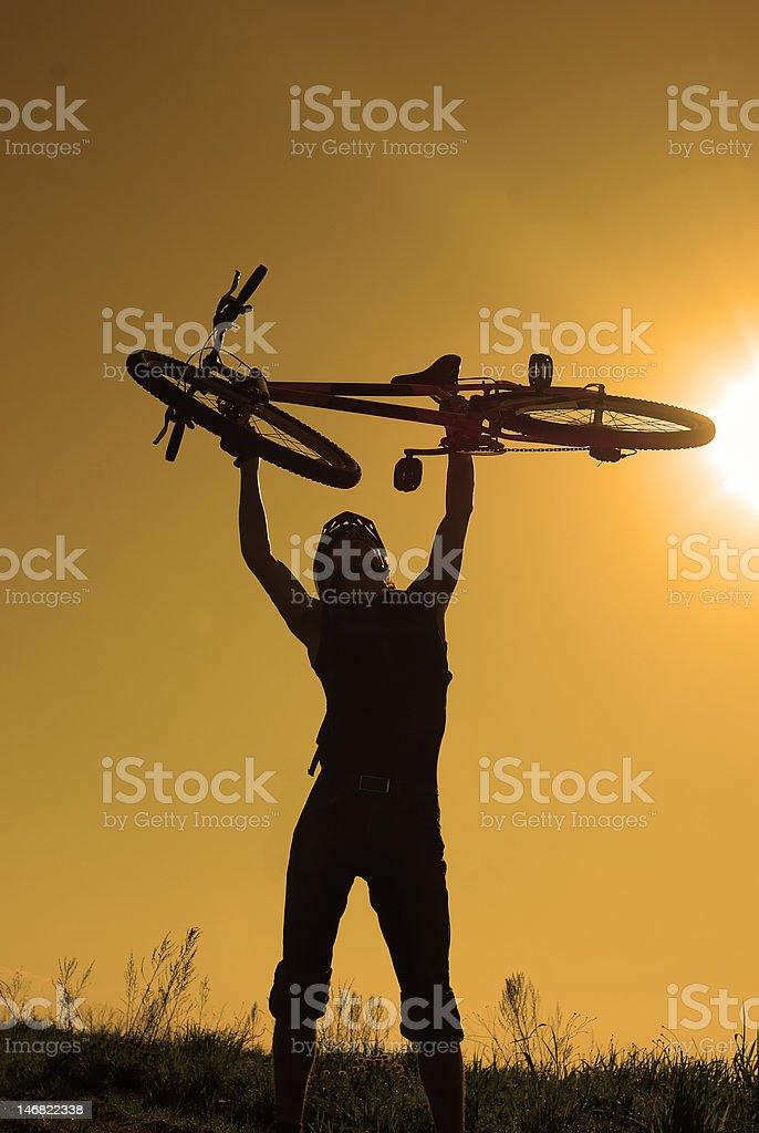 Silhouette eines cycliste Lizenzfreies stock-foto