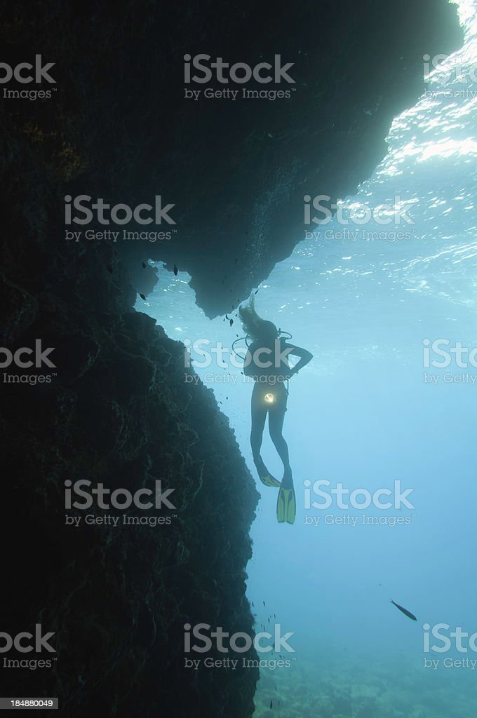 Silhouette of a diver at cave entrance royalty-free stock photo
