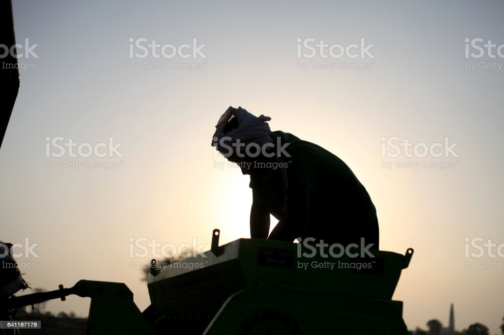 Silhouette of a farmer sowing wheat in the field stock photo